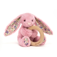 Blossom Tulip Bunny Wooden Ring Toy