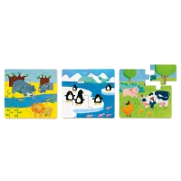 3-pack pussel, Animals & Co