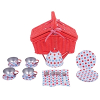 Spottet Basket Tea Set